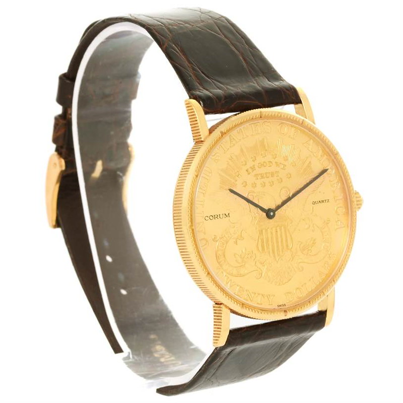 Corum 20 Dollars Double Eagle Yellow Gold Coin Brown Strap Watch SwissWatchExpo