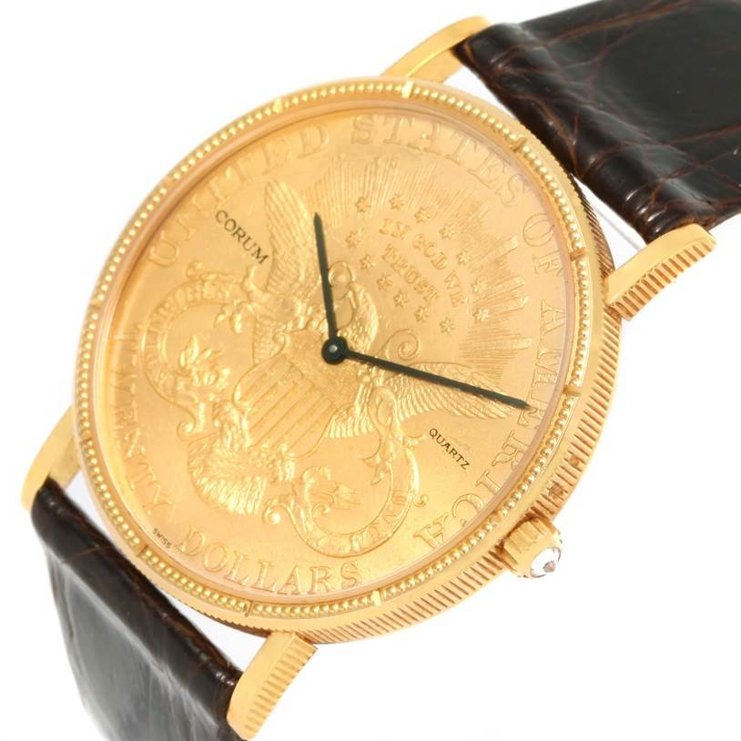 12786 Corum 20 Dollars Double Eagle Yellow Gold Coin Brown Strap Watch SwissWatchExpo