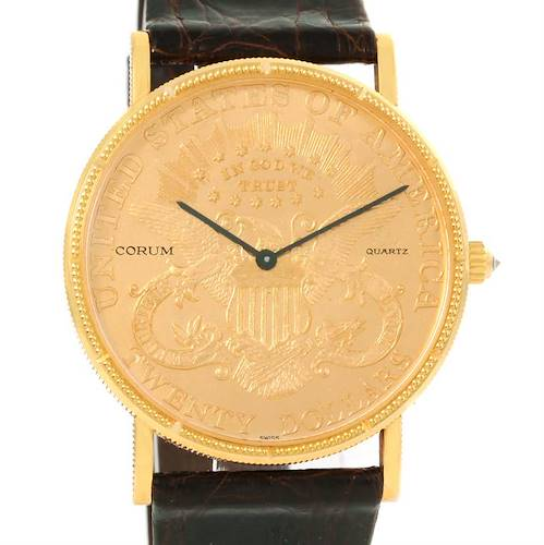 Photo of Corum 20 Dollars Double Eagle Yellow Gold Coin Brown Strap Watch