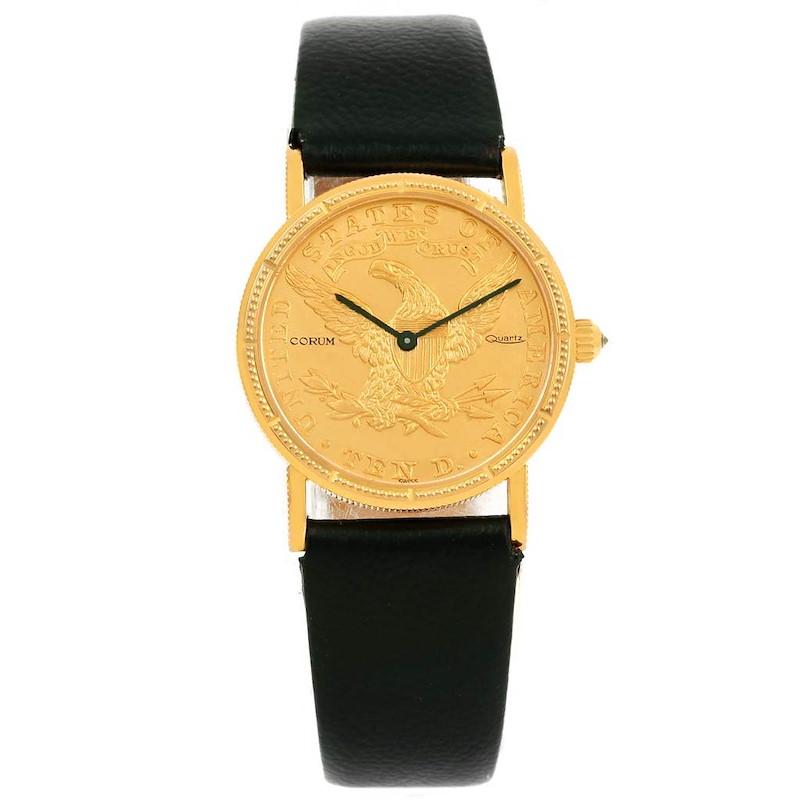 Corum 18K Yellow Gold 10 Dollars Coin  Ladies Watch Box Papers SwissWatchExpo