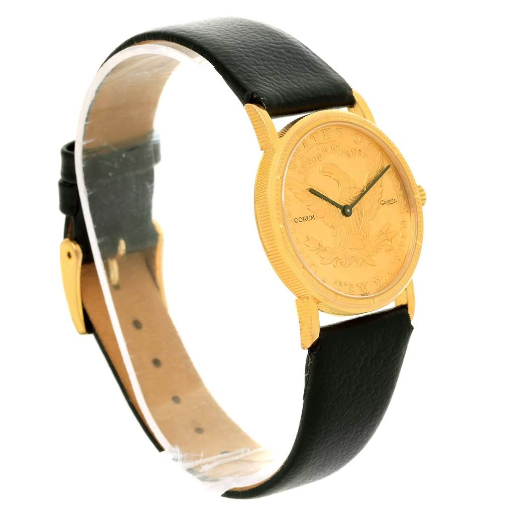12623 Corum 18K Yellow Gold 10 Dollars Coin  Ladies Watch Box Papers SwissWatchExpo