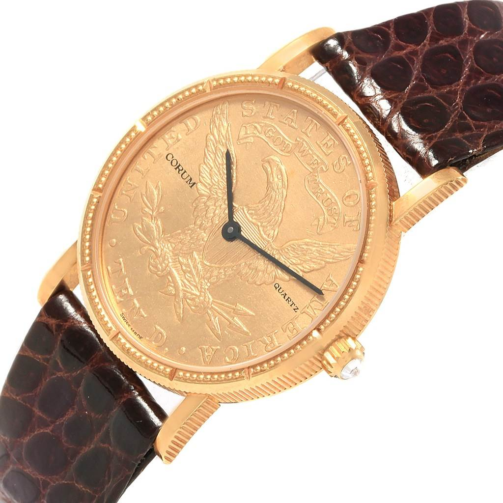 Corum Yellow Gold 10 Dollars Coin Diamond Ladies Watch Year 1881 SwissWatchExpo
