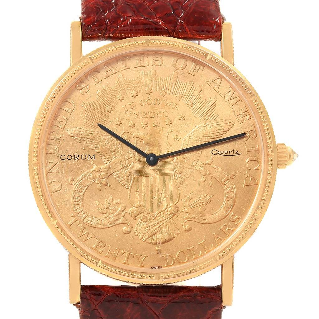 Corum 20 Dollars Double Eagle Yellow Gold Coin Year 1900 Mens Watch Papers SwissWatchExpo