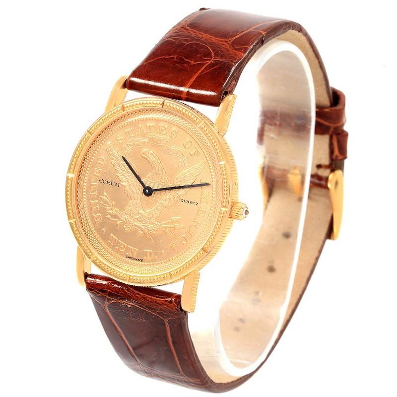 Corum Yellow Gold 10 Dollars Coin Diamond Ladies Watch Year 1882 SwissWatchExpo