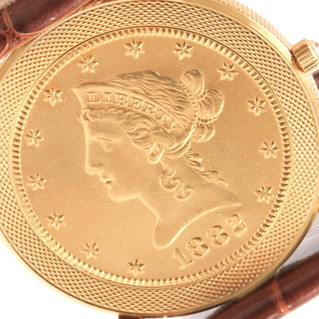 18234 Corum Yellow Gold 10 Dollars Coin Diamond Ladies Watch Year 1882 SwissWatchExpo