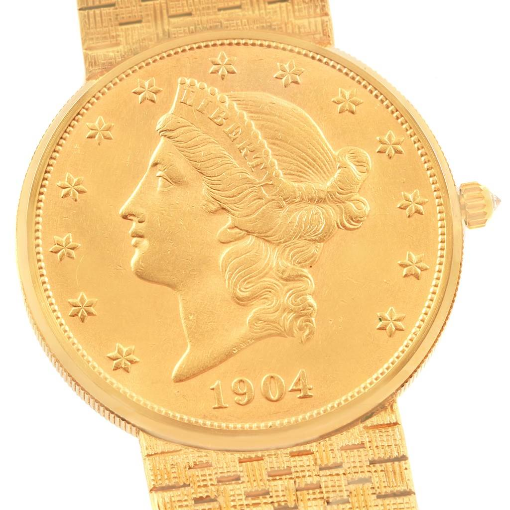 20249 Corum 20 Dollars Double Eagle Yellow Gold Coin Year 1904 Mens Watch SwissWatchExpo