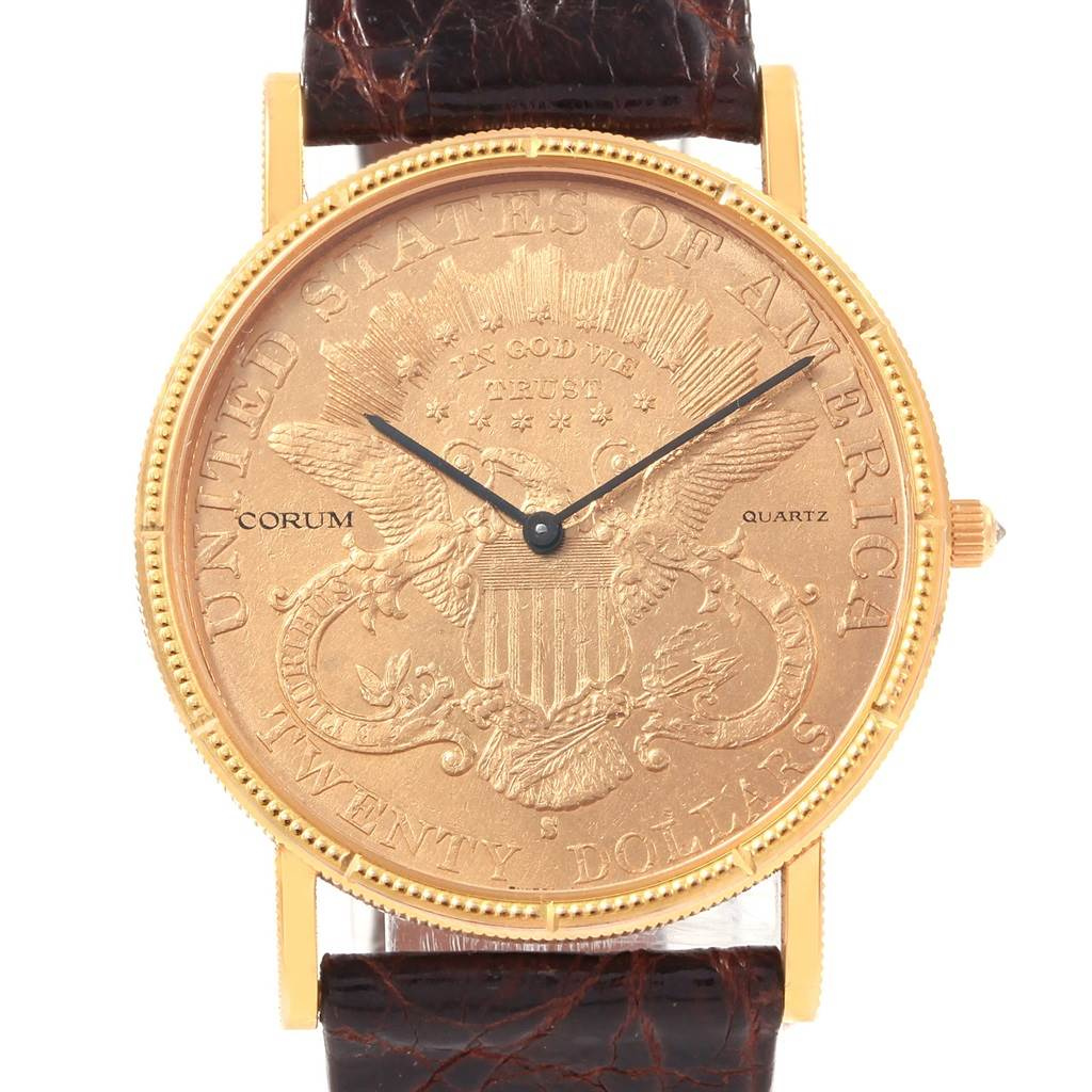 20485 Corum 20 Dollars Double Eagle Yellow Gold Coin Year 1905 Mens Watch SwissWatchExpo