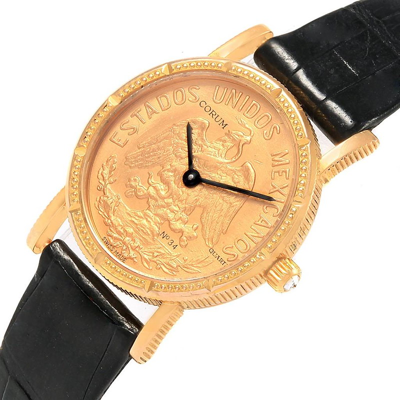 Corum Yellow Gold 10 Pesos Coin Year 1959 Diamond Ladies Watch SwissWatchExpo