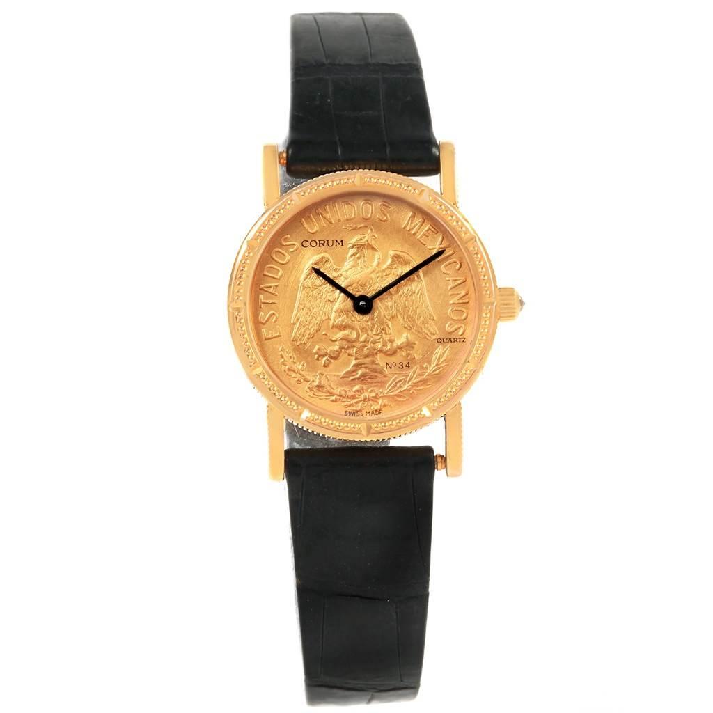 Corum Yellow Gold 10 Pesos Coin Year 1959 Diamond Ladies Watch SwissWatchExpo