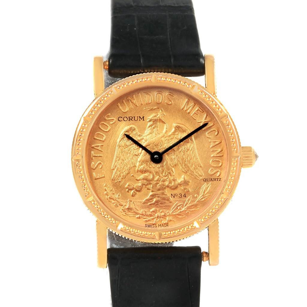 Corum Yellow Gold 10 Pesos Coin Year 1959 Diamond Ladies Watch
