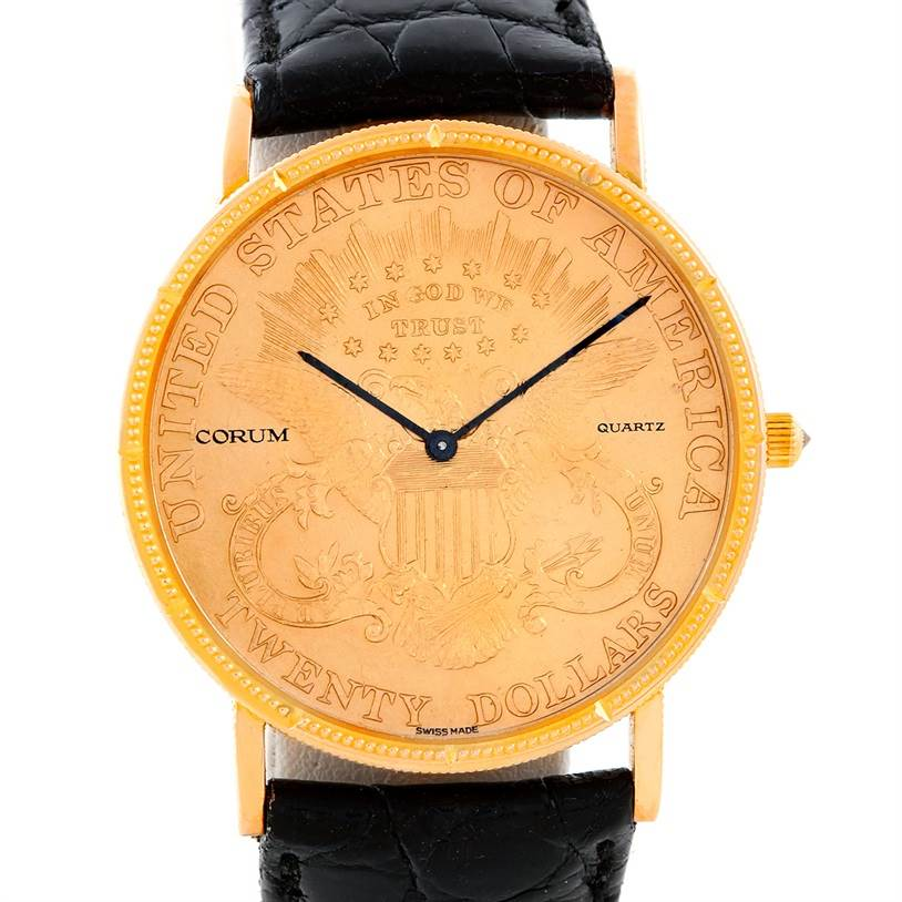 Photo of Corum 18/22K Yellow Gold 20 Double Eagle Coin Vintage Mens Watch