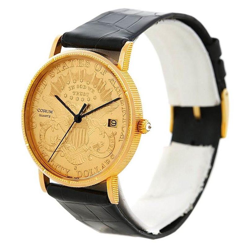 Corum Mens 18K Yellow Gold 20 Dollars Coin Watch SwissWatchExpo