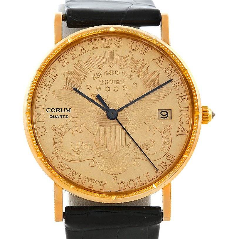 Photo of Corum Mens 18K Yellow Gold 20 Dollars Coin Watch