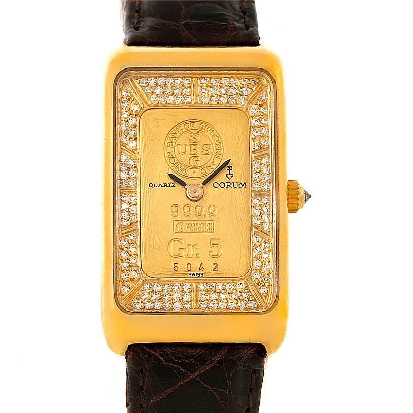 Photo of Corum 18K Yellow Gold Diamond 5 Gram Ingot 999.9 Watch