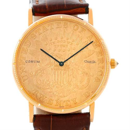 Photo of Corum 18K Yellow Gold 20 Dollars Coin Year 1876 Mens Watch