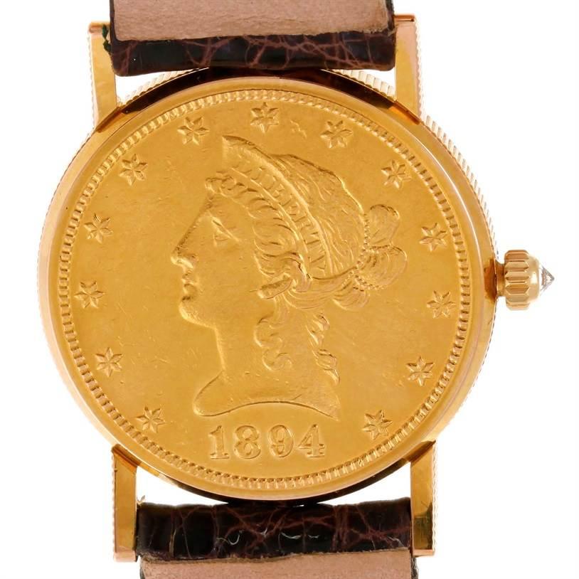 9749 Corum 22K Yellow Gold 10 Dollars Coin Diamond Ladies Watch SwissWatchExpo