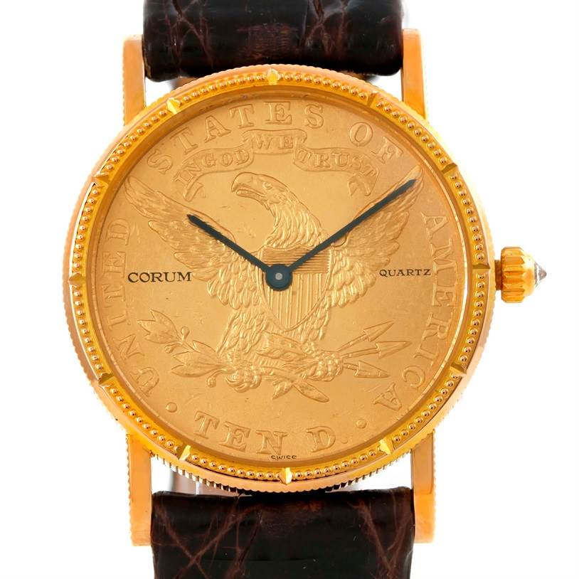 Photo of Corum 22K Yellow Gold 10 Dollars Coin Diamond Ladies Watch