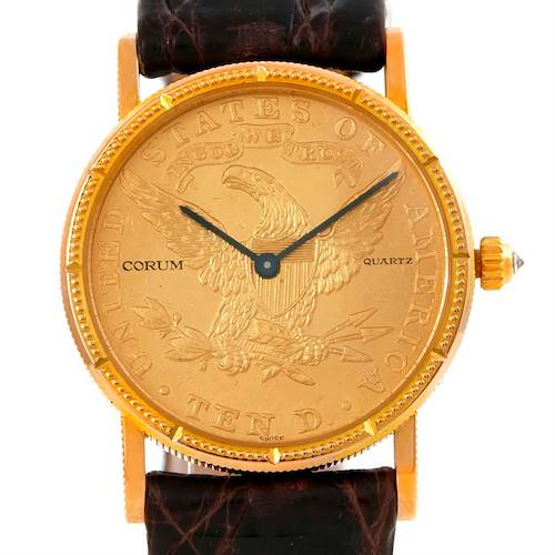 Photo of Corum 22K Yellow Gold 10 Dollars Coin Diamond Ladies Watch