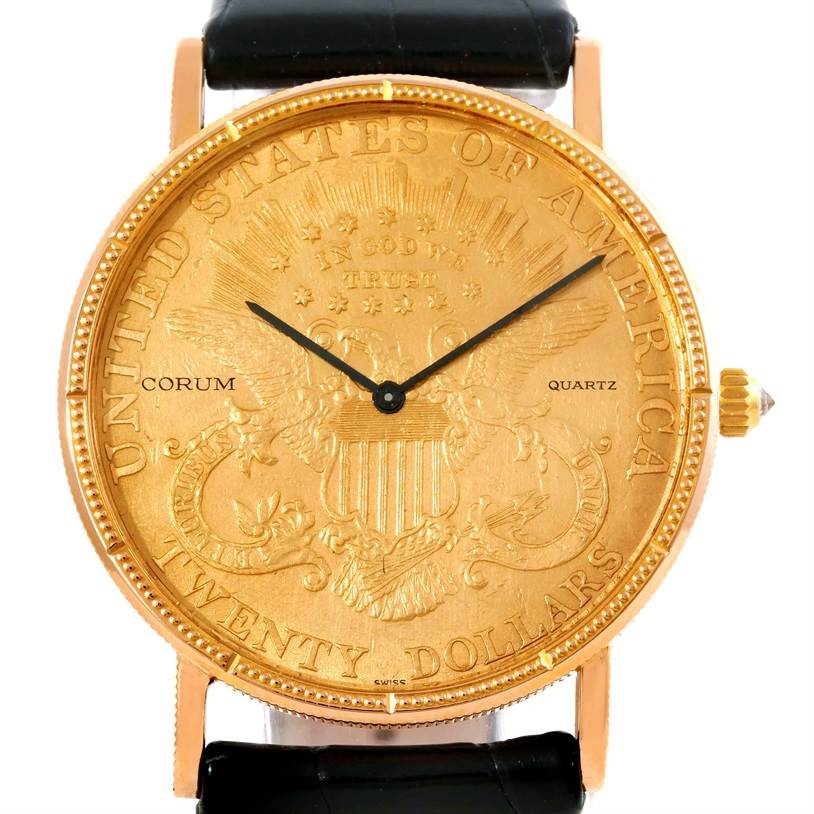 Photo of Corum 20 Dollars Double Eagle Yellow Gold Coin Mens Watch Year 1905