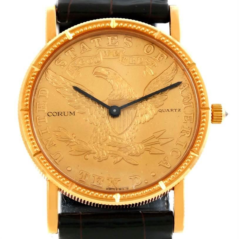 Photo of Corum 18K Yellow Gold 10 Dollars Coin Diamond Ladies Watch Unworn