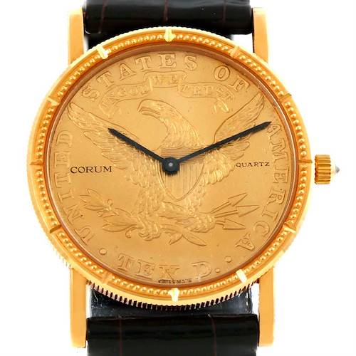 Photo of Corum 18K Yellow Gold 10 Dollars Coin Diamond Ladies Watch Unworn