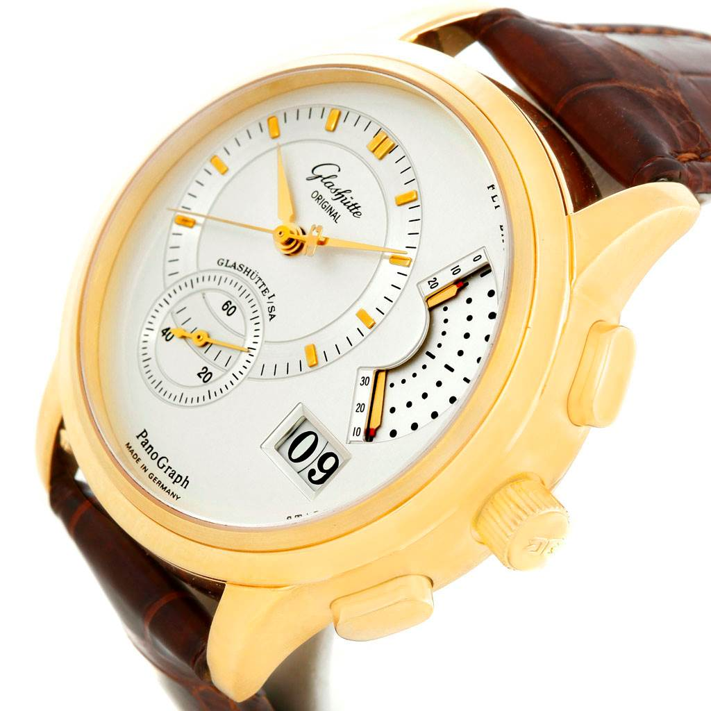 6702P Glashutte PanoGraph Manual 18K Yellow Gold Mens Watch 61-03-25-15-04 SwissWatchExpo