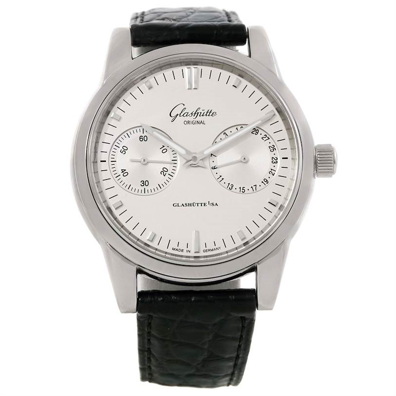 Glashutte Original Senator Hand Date Chronograph Watch 39-58-02-02-04 SwissWatchExpo