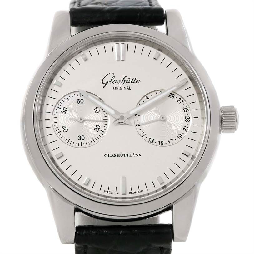 9757 Glashutte Original Senator Hand Date Chronograph Watch 39-58-02-02-04 SwissWatchExpo