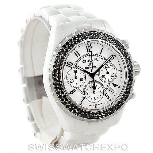 7256 Chanel J12 Chronograph White Ceramic Black Diamond Watch H1664 SwissWatchExpo