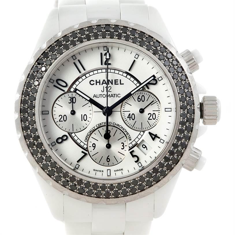 Chanel J12 Chronograph White Ceramic Black Diamond Watch H1664 SwissWatchExpo