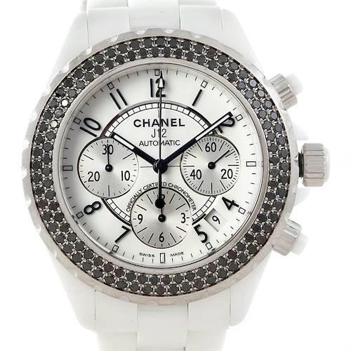 Photo of Chanel J12 Chronograph White Ceramic Black Diamond Watch H1664