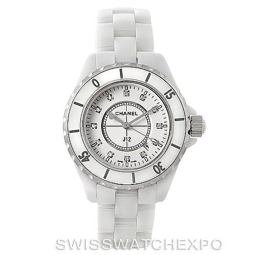 Chanel J12 White Ceramic Diamonds Quartz Ladies Watch H2422