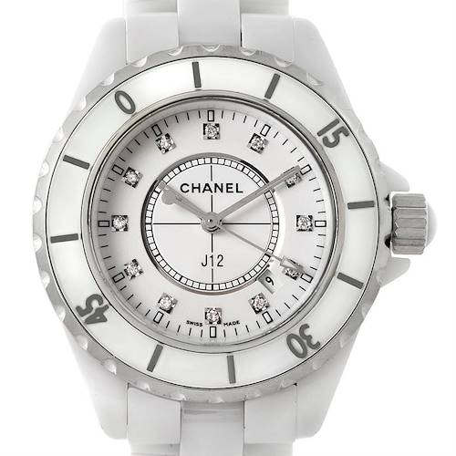 Photo of Chanel J12 White Ceramic Diamonds Quartz Ladies Watch H2422