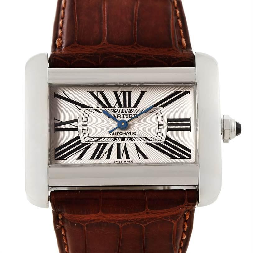 7612x Cartier Tank Divan Large Stainless Steel Watch W6300755 SwissWatchExpo
