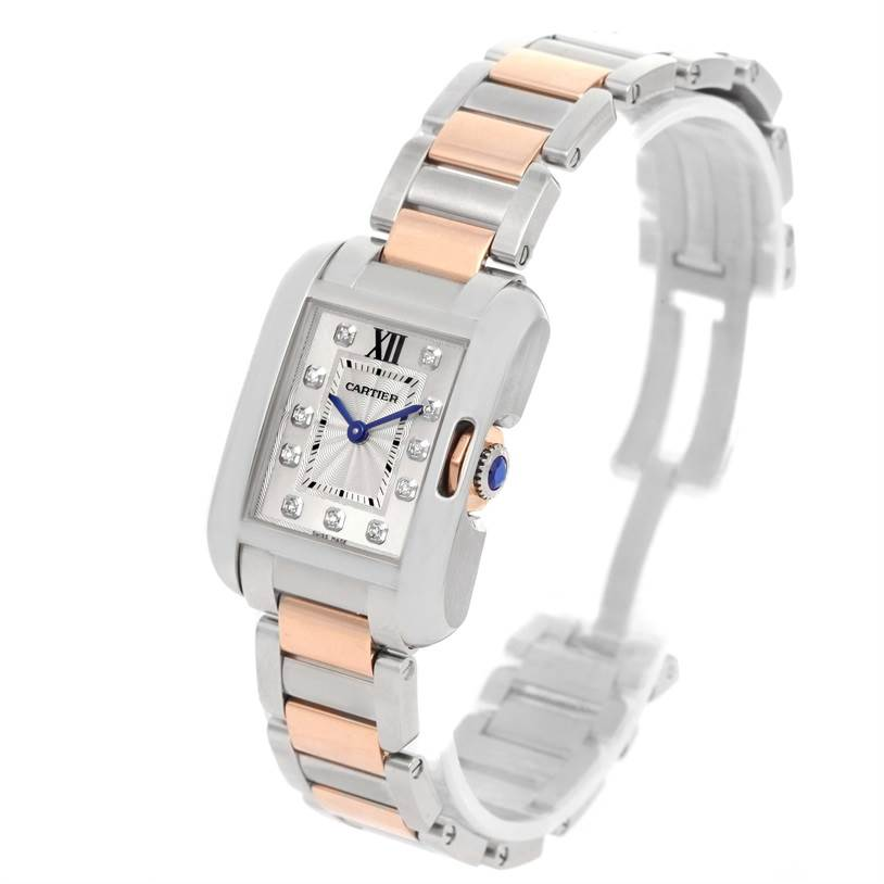 12981 Cartier Tank Anglaise Small Steel 18K Rose Gold Diamond Watch WT100024 SwissWatchExpo