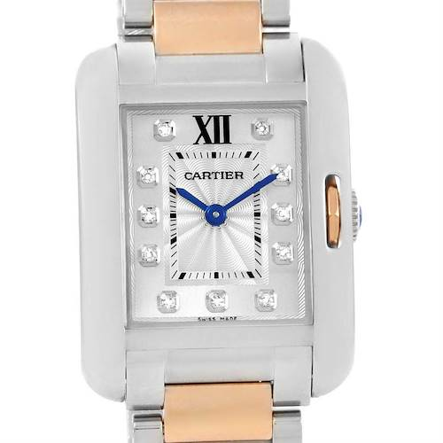 Photo of Cartier Tank Anglaise Small Steel 18K Rose Gold Diamond Watch WT100024