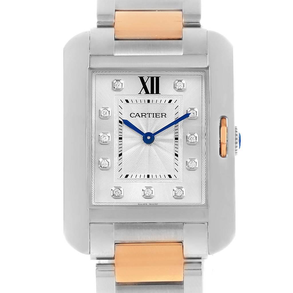 14743 Cartier Tank Anglaise Medium Steel Rose Gold Diamond Watch WT100032 SwissWatchExpo