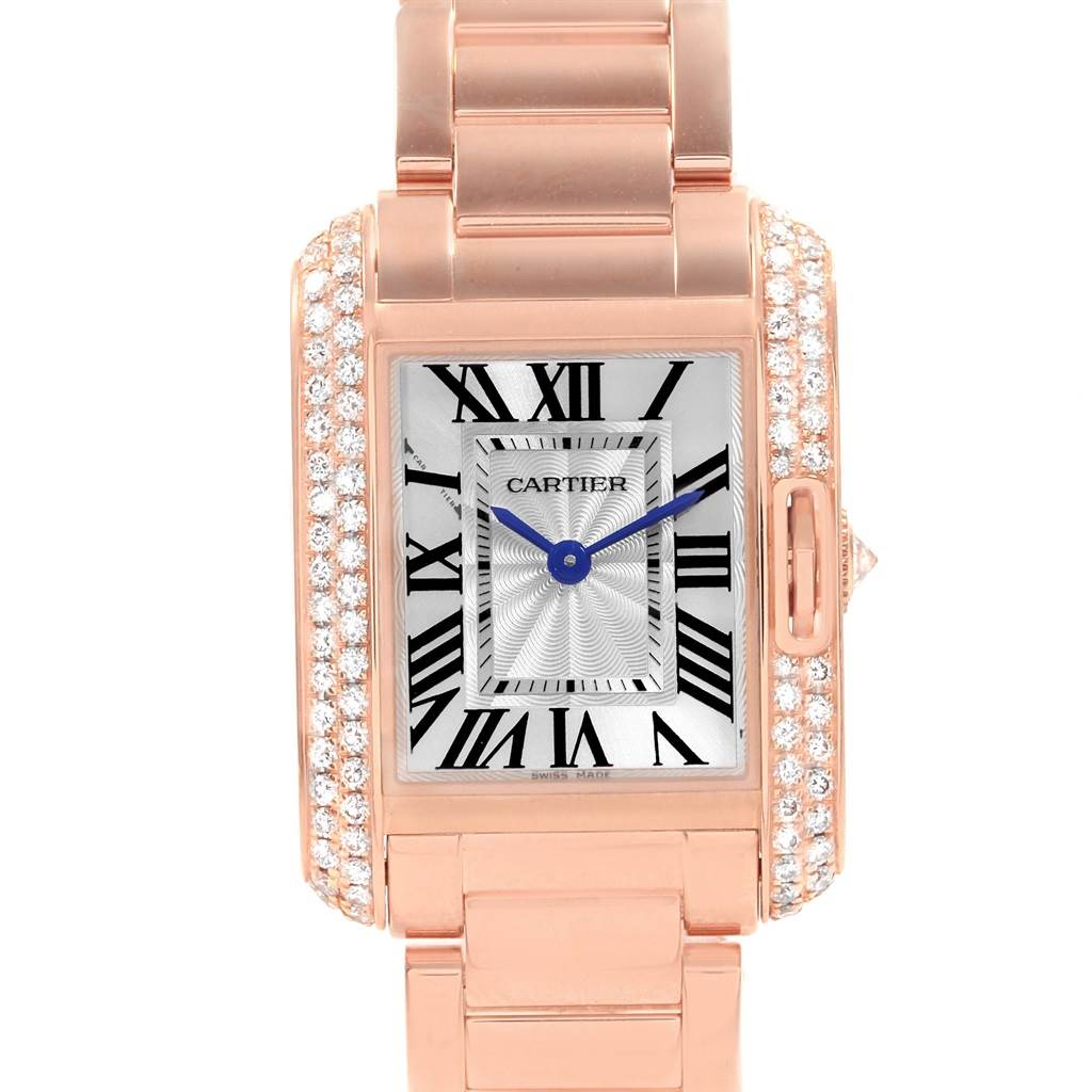 d9d5f0033a17 ... 19193 Cartier Tank Anglaise Rose Gold Diamond Ladies Watch WT100002 Box  Papers SwissWatchExpo ...