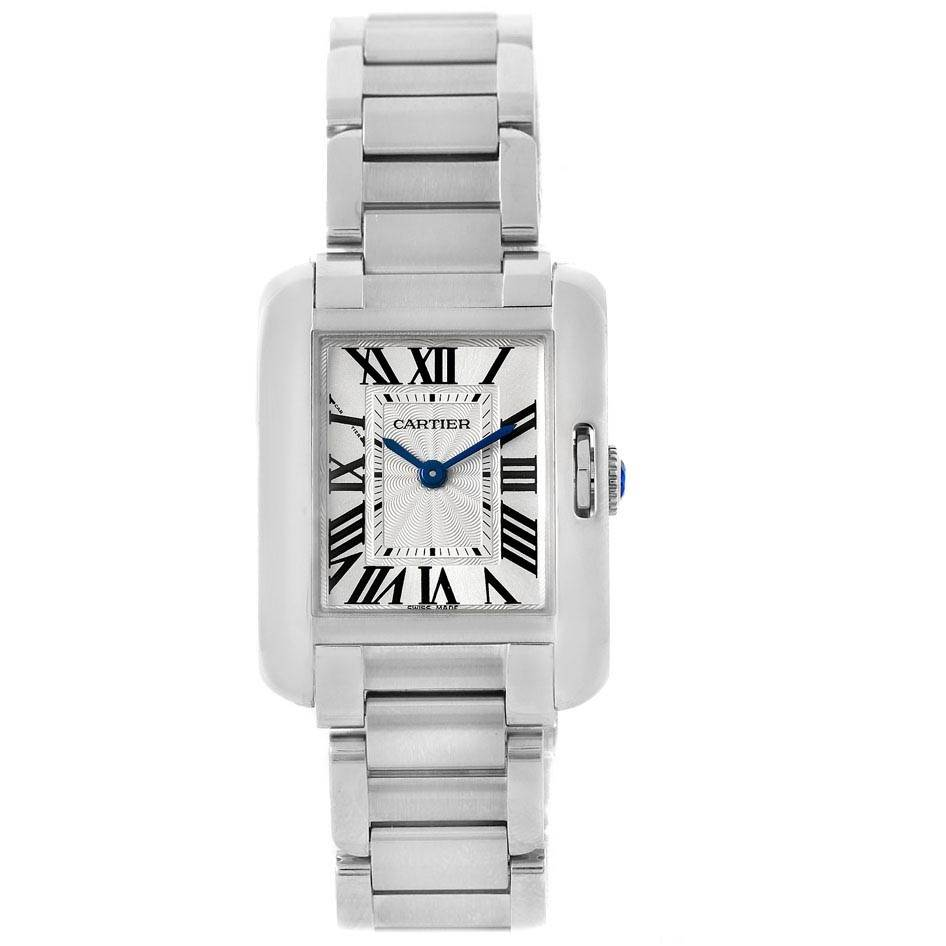 20273 Cartier Tank Anglaise Small Steel Ladies Watch W5310022 SwissWatchExpo