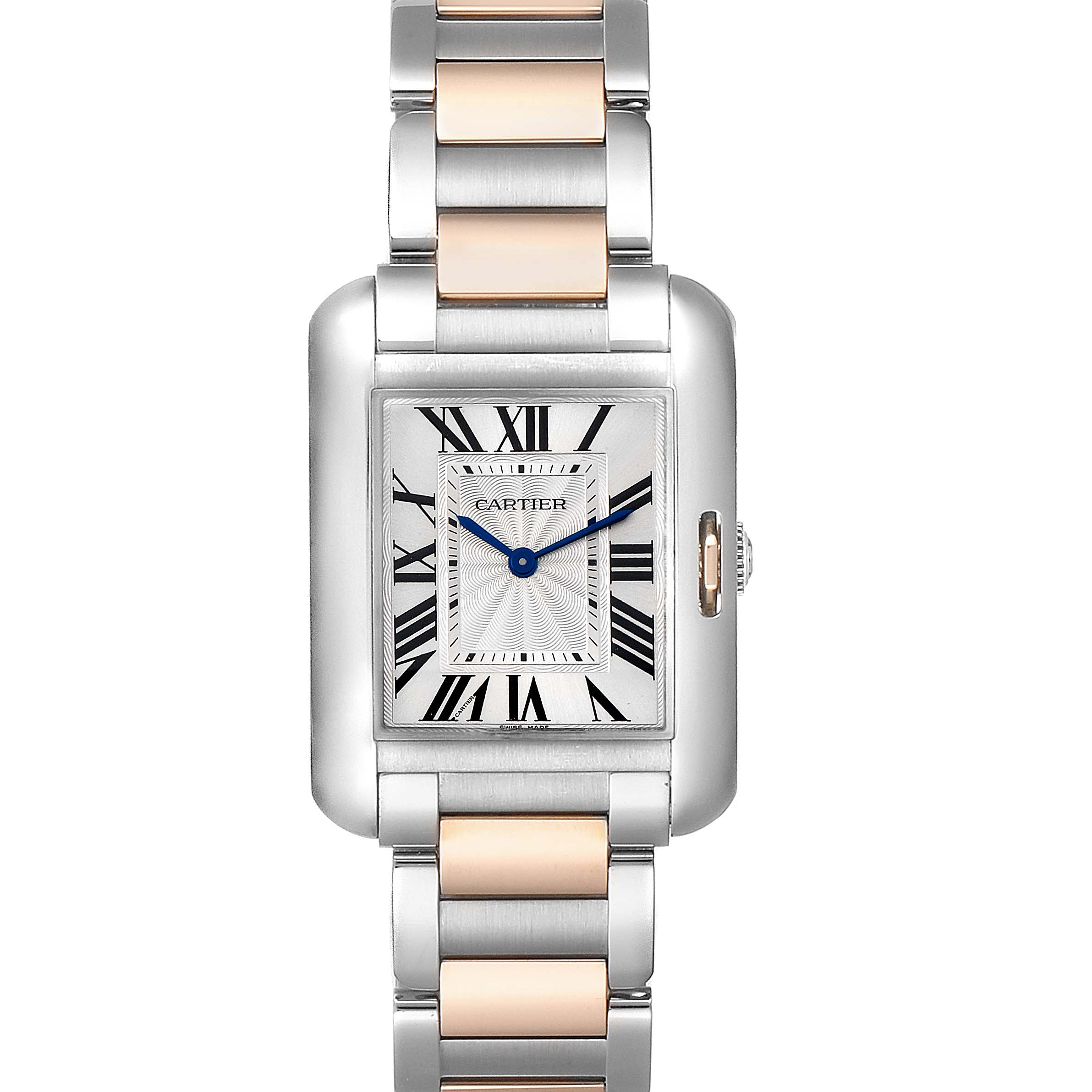 Cartier Tank Anglaise Medium Steel Rose Gold Watch WT100032 SwissWatchExpo