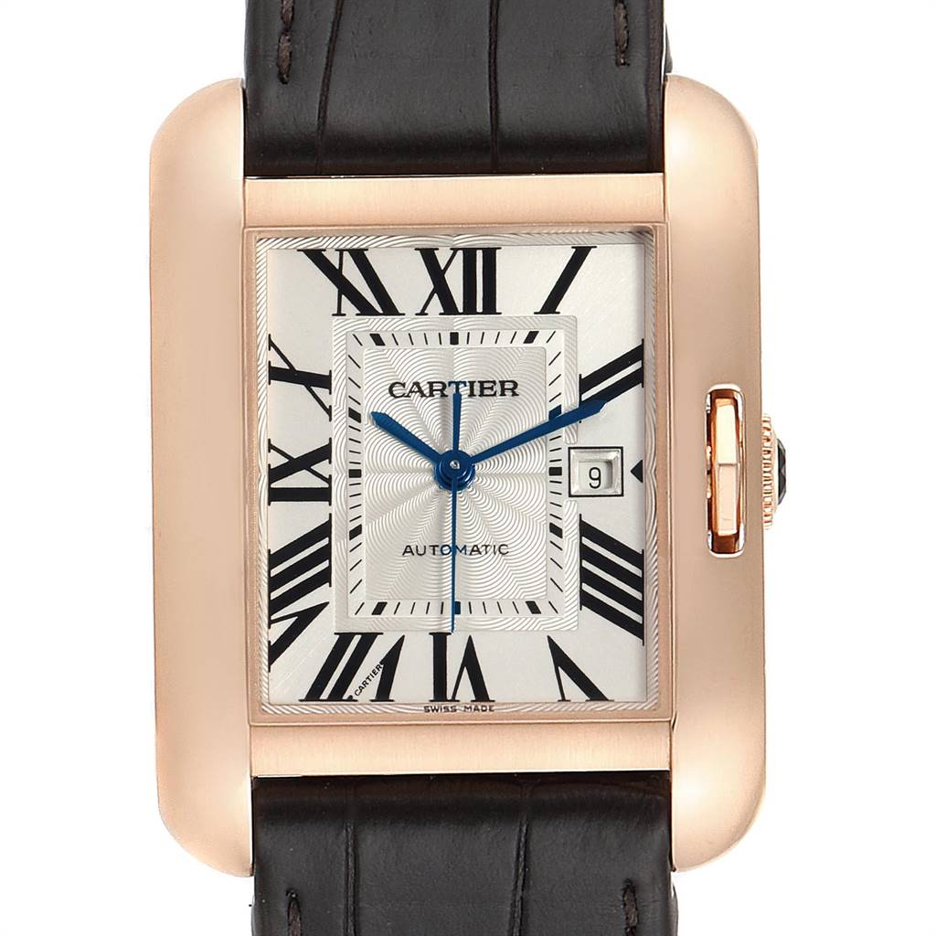 24734 Cartier Tank Anglaise Rose Gold Brown Strap Ladies Watch W5310005 SwissWatchExpo
