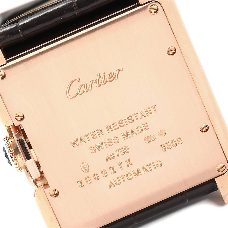Cartier Tank Anglaise Rose Gold Brown Strap Ladies Watch W5310005 SwissWatchExpo
