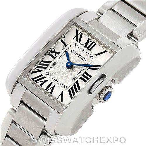 7777 Cartier Tank Anglaise Small Steel Watch W5310022 Unworn SwissWatchExpo