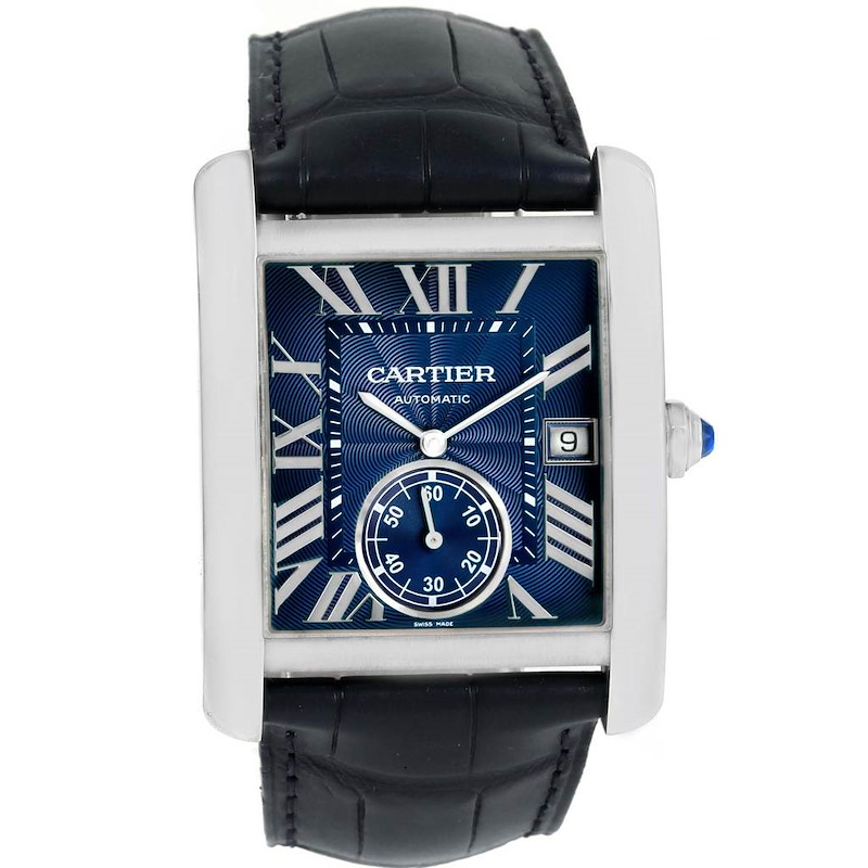 Cartier Tank MC Blue Dial Automatic Mens Watch WSTA0010 SwissWatchExpo