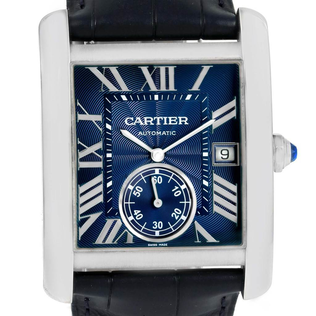 Cartier Tank MC Blue Dial Automatic Mens Watch WSTA0010 SwissWatchExpo
