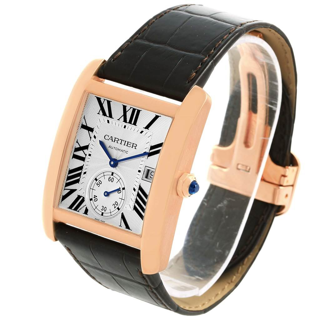 16883 Cartier Tank MC Rose Gold Silver Dial Mens Watch W5330001 Box Papers SwissWatchExpo