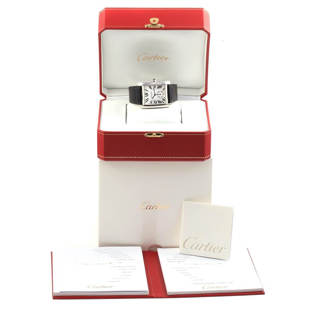 18281 Cartier Tank MC Silver Dial Automatic Mens Watch W5330003 box Papers SwissWatchExpo