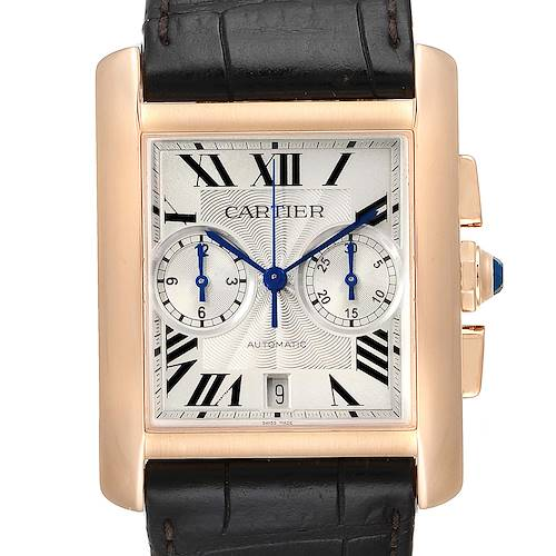 Photo of Cartier Tank MC 18K Rose Gold Silver Dial Mens Watch W5330005