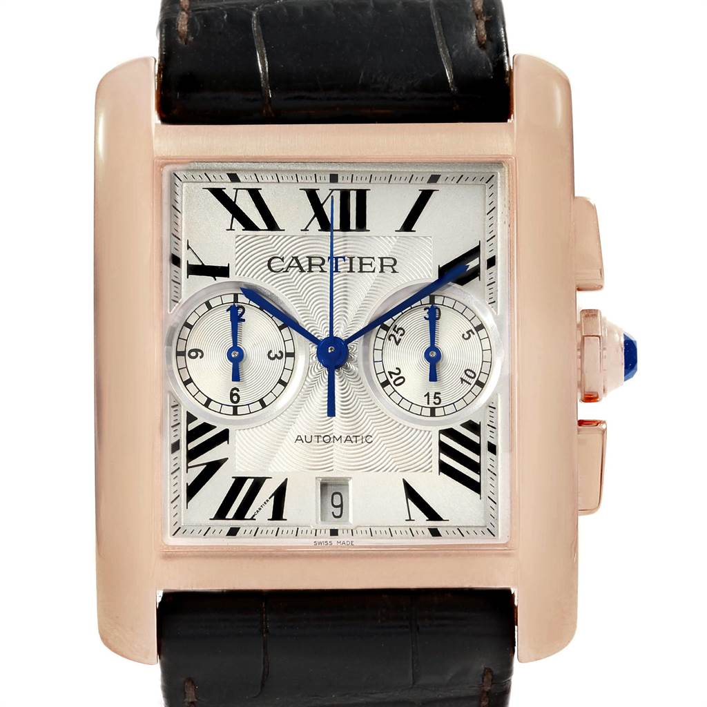 18900 Cartier Tank MC 18K Rose Gold Silver Dial Mens Watch W5330005 SwissWatchExpo