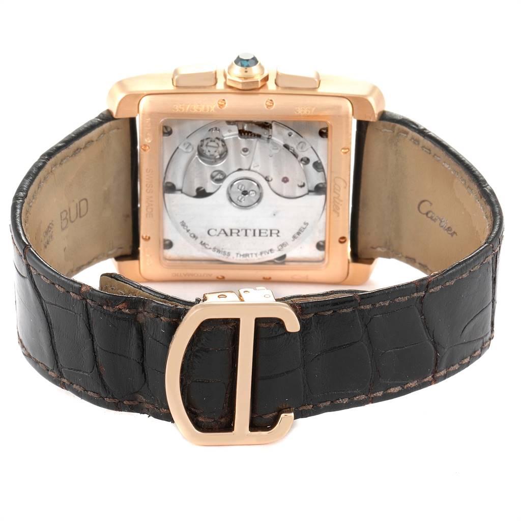 Cartier Tank MC 18K Rose Gold Silver Dial Mens Watch W5330005 SwissWatchExpo